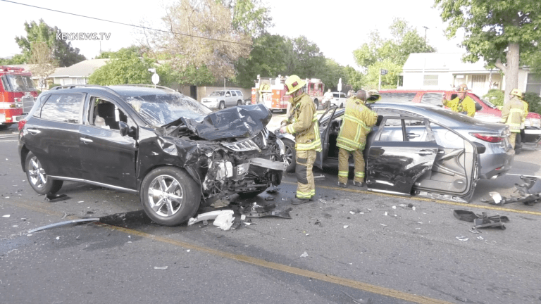 North Hills 2-Vehicle Collision Leaves Driver Trapped, Extricated by LAFD (GRAPHIC)