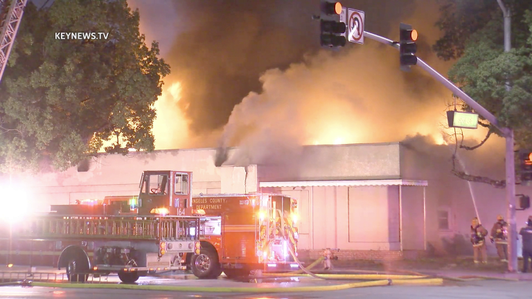 Firefighters Battle a Vernon Commercial Building Fire on Soto Street