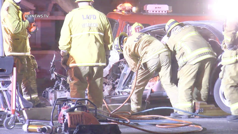 Firefighters Extricate Trapped Man in Vehicle After Collision with Light Pole (GRAPHIC)