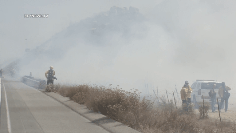 Vehicle Fire Spreads to Vegetation Along Southbound I-215 in Murrieta