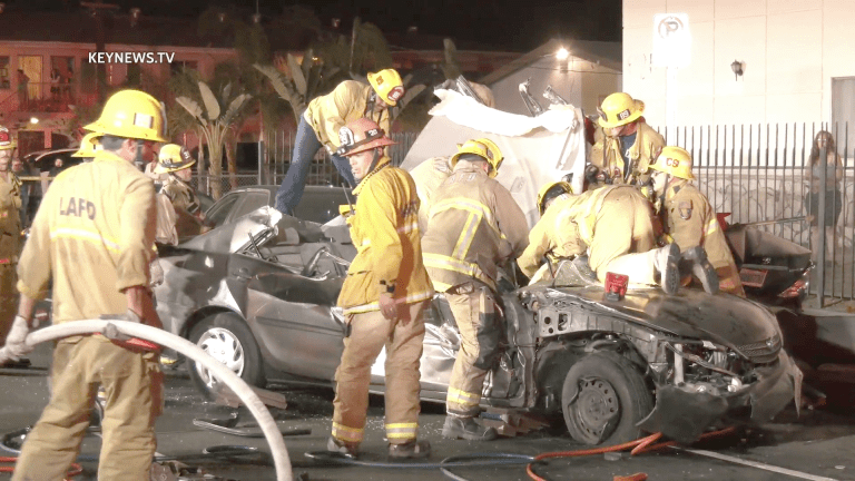 1 Trapped After Crashing into Multiple Parked Vehicles