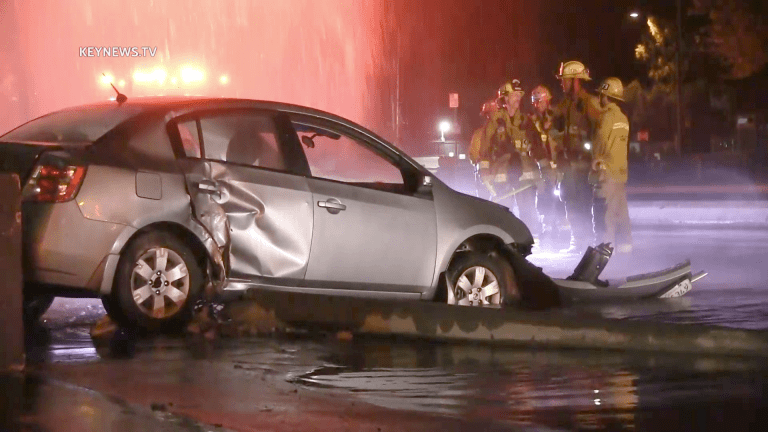 Single Vehicle Crash Damages Pole, Hydrant and Block Wall Before Coming to a Stop