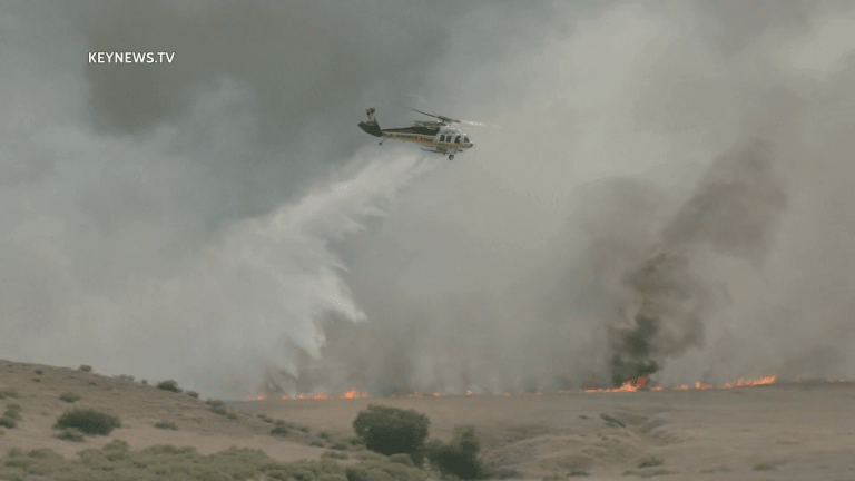 Posey and Hungry Valley Brush Fires Burn in Gorman