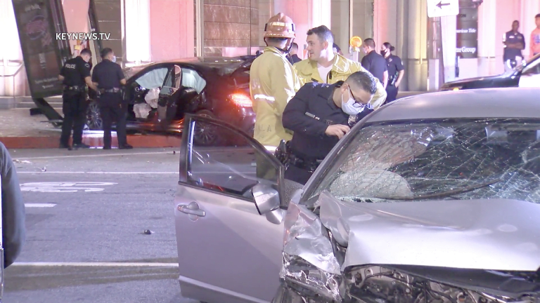 Downtown Los Angeles Car to Car Shooting Causes Collision with Another Vehicle