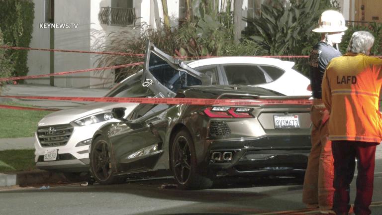 1 Male Killed, 1 Female Critical in Los Feliz Corvette C8 Crash