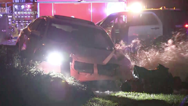 Driver in Custody After Crashing into Fire Hydrant in Newhall