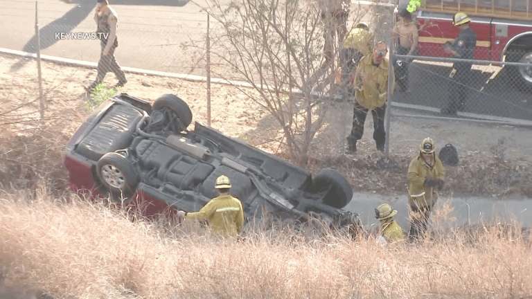 Vehicle Veers off Roadway in Santa Clarita, Down Embankment Trapping Driver