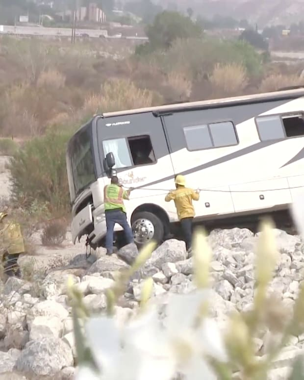 Crews Work to Pull Crashed RV from Santa Clara Riverbed, 1 Fatality Reported