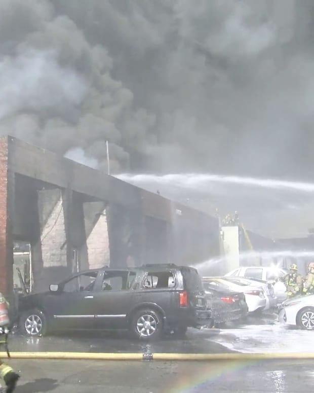 Firefighters Battle Canoga Park Fire
