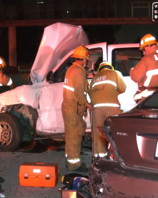 Firefighters Extricate Man from Vehicle on 170 Freeway