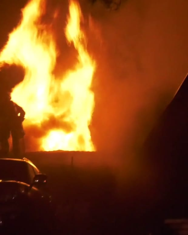 Pasadena Firefighters Battle Blazing Roof Fire