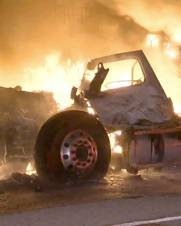 Big Rig Fire on I-10 San Dimas