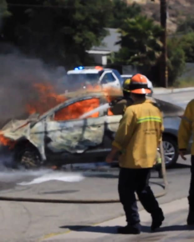 Vehicle Fire After Collision in Newhall