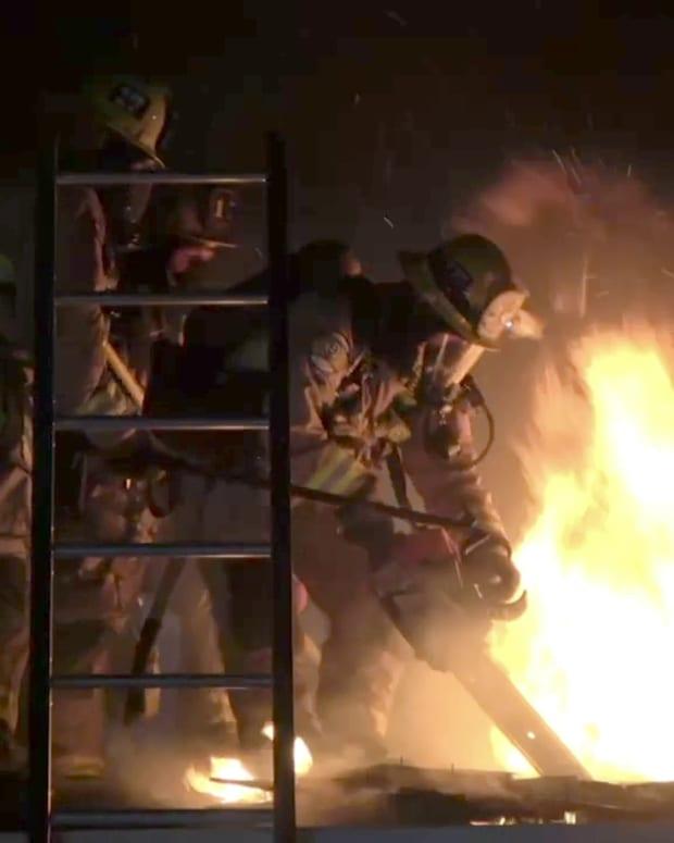 Long Beach Firefighters Battle Home Fire