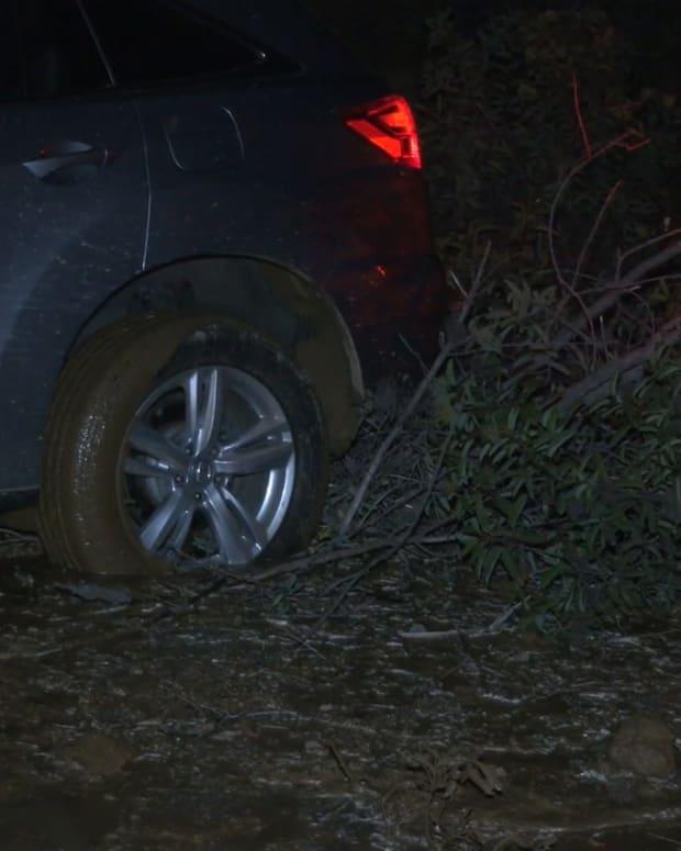 Water Main Break Floods Mulholland, Leaves 1 Vehicle Stuck