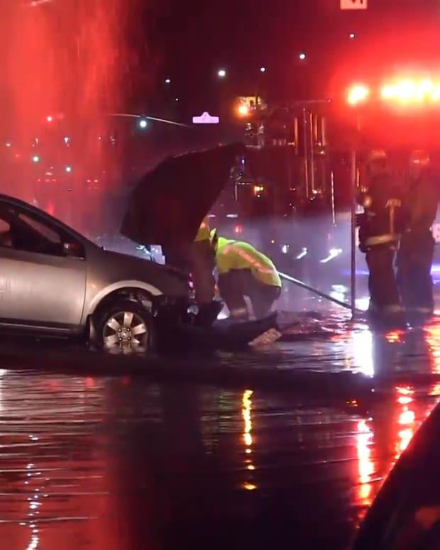 Vehicle Crashes into Pole, Hydrant, and Wall in Santa Clarita