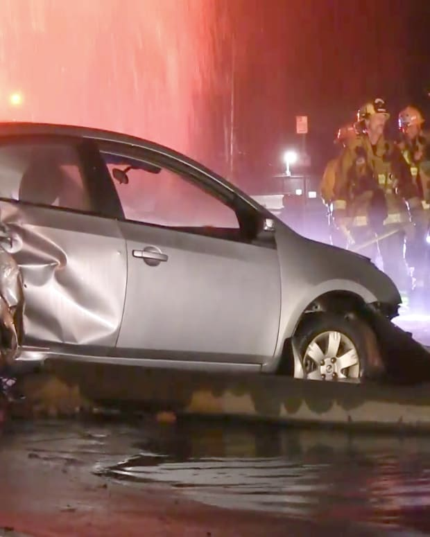 Vehicle Crash Damages Pole, Hydrant and Wall