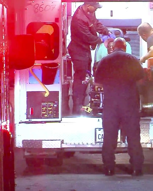 Paramedics Transport Injured Victim in Freeway Collision:Shooting