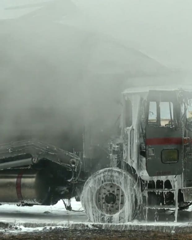 Trash Truck Burns on 170 Freeway