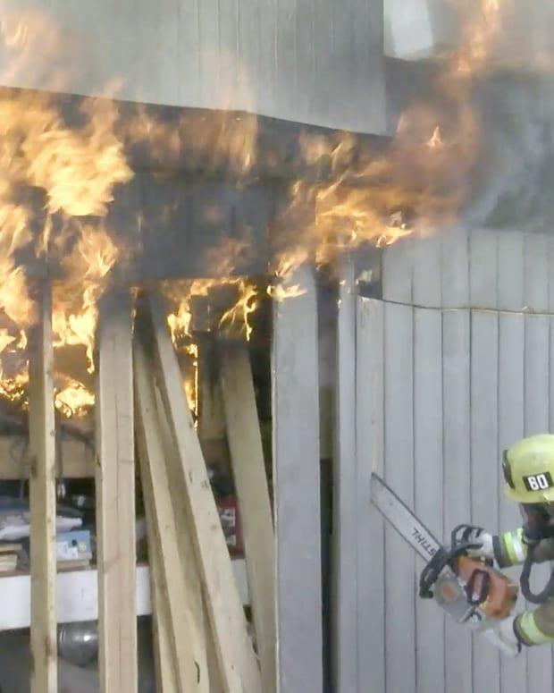 LAFD Firefighters Extinguish Studio City Garage Fire