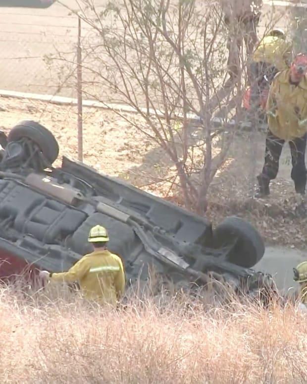 Vehicle Lands Upside Down After Veering off Roadway in Santa Clarita
