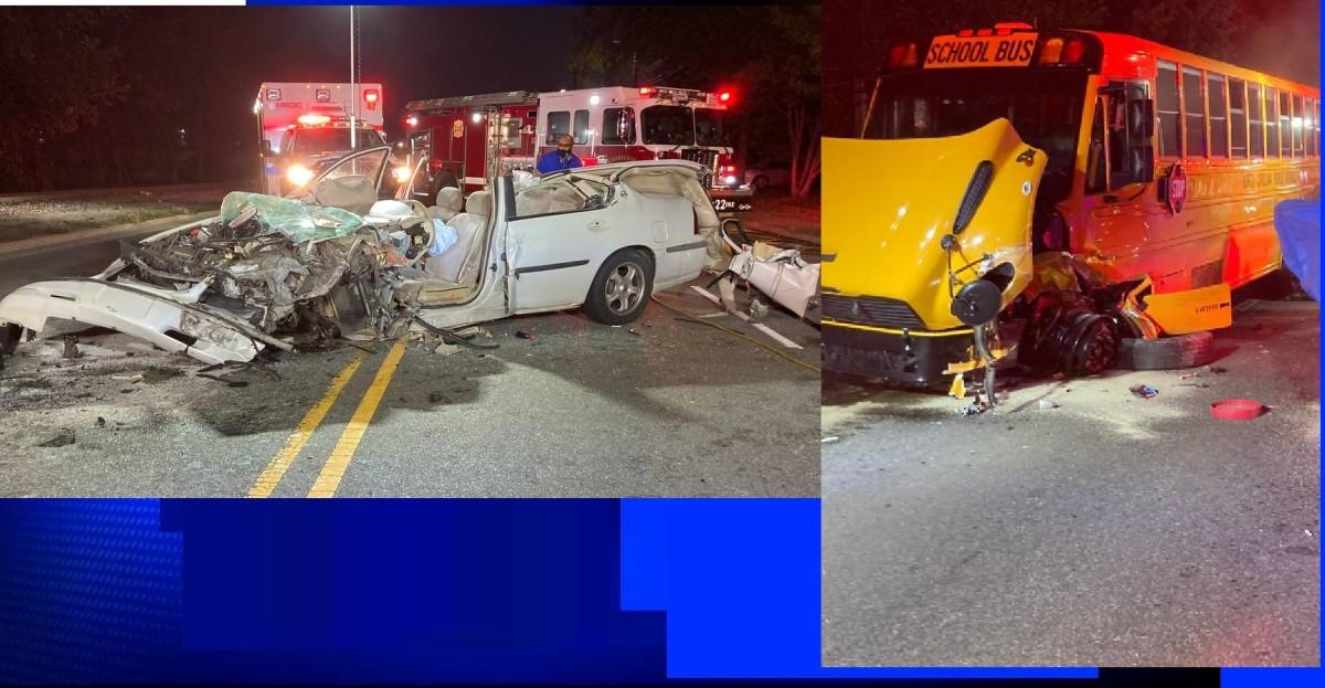 Head to head collision involving school bus and car