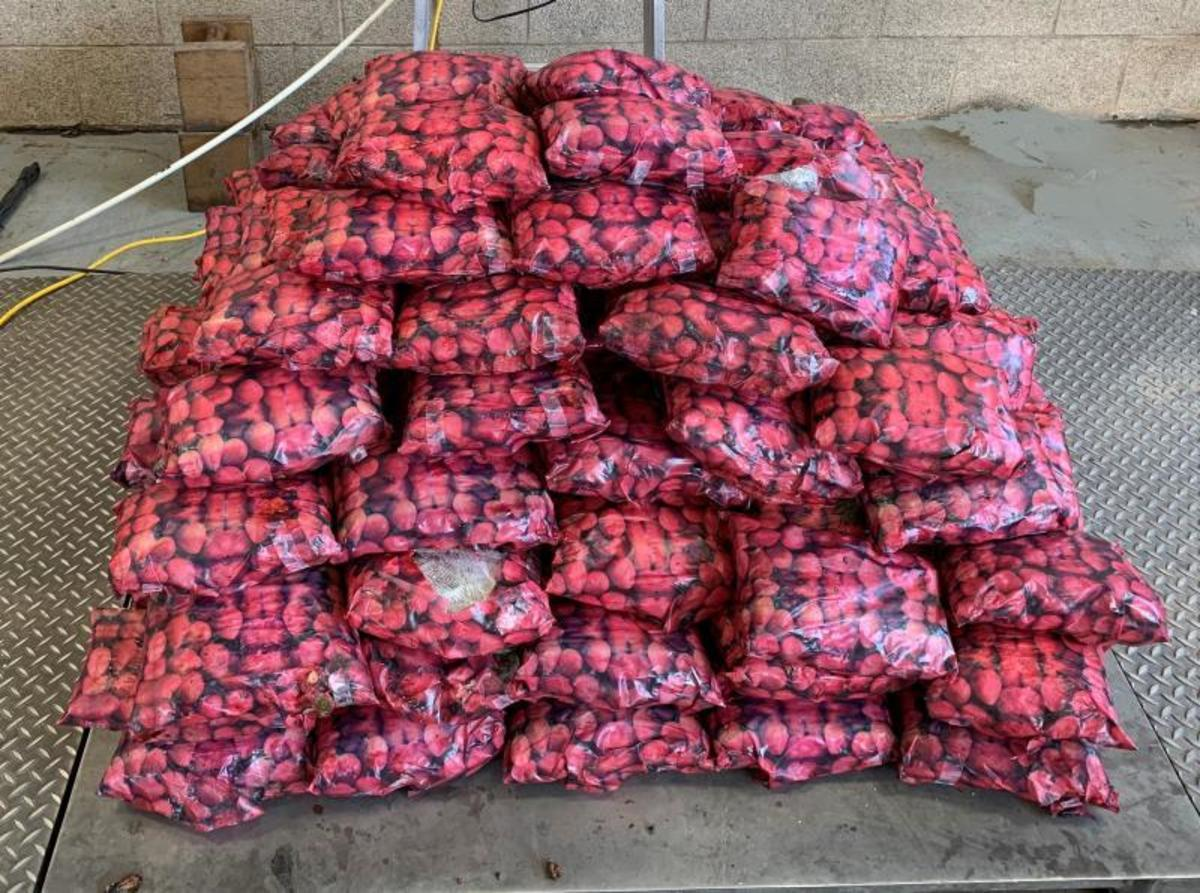 Bags with picture of strawberries containing 411pounds of methamphetamine seized by CBP officersat Pharr International Bridge.