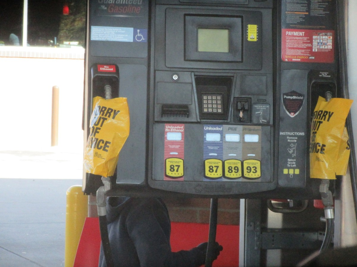 Many gas pumps have bags over them
